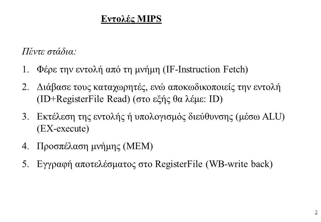 2 Εντολές MIPS Πέντε στάδια: 1.Φέρε την εντολή από τη μνήμη (IF-Instruction Fetch) 2.Διάβασε τους καταχωρητές, ενώ αποκωδικοποιείς την εντολή (ID+RegisterFile Read) (στο εξής θα λέμε: ID) 3.Εκτέλεση της εντολής ή υπολογισμός διεύθυνσης (μέσω ALU) (EX-execute) 4.Προσπέλαση μνήμης (MEM) 5.Εγγραφή αποτελέσματος στο RegisterFile (WB-write back)