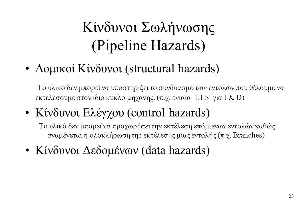 23 Κίνδυνοι Σωλήνωσης (Pipeline Hazards) Δομικοί Κίνδυνοι (structural hazards) Το υλικό δεν μπορεί να υποστηρίξει το συνδυασμό των εντολών που θέλουμε να εκτελέσουμε στον ίδιο κύκλο μηχανής.