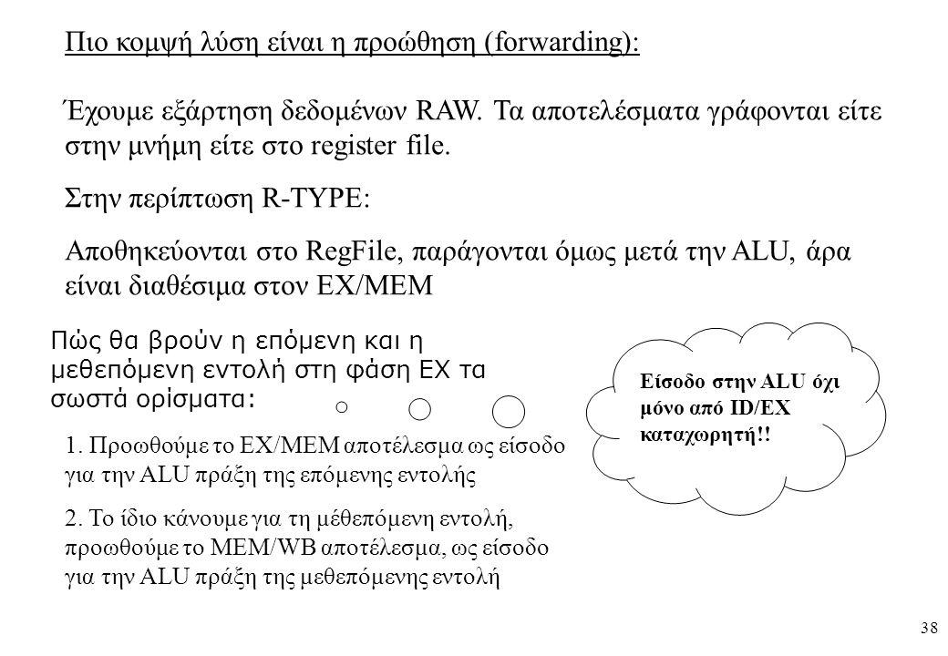 38 Πιο κομψή λύση είναι η προώθηση (forwarding): Έχουμε εξάρτηση δεδομένων RAW. Τα αποτελέσματα γράφονται είτε στην μνήμη είτε στο register file. Στην
