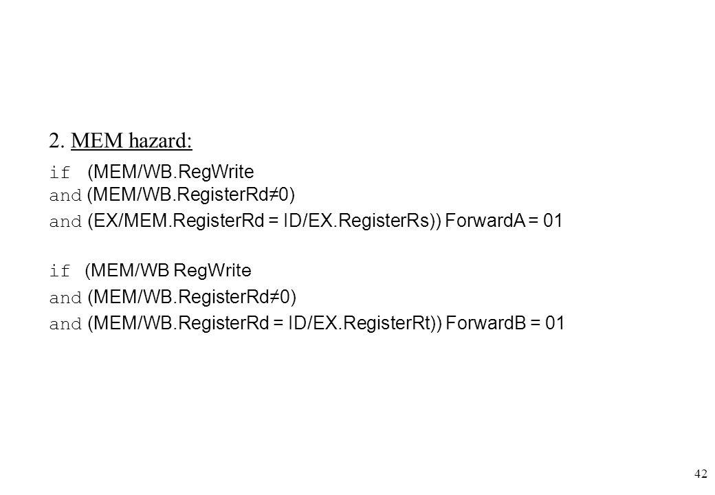 42 2. MEM hazard: if (MEM/WB.RegWrite and (ΜΕΜ/WΒ.RegisterRd≠0) and (EX/MEM.RegisterRd = ID/EX.RegisterRs)) ForwardA = 01 if (MEM/WB RegWrite and (MEM