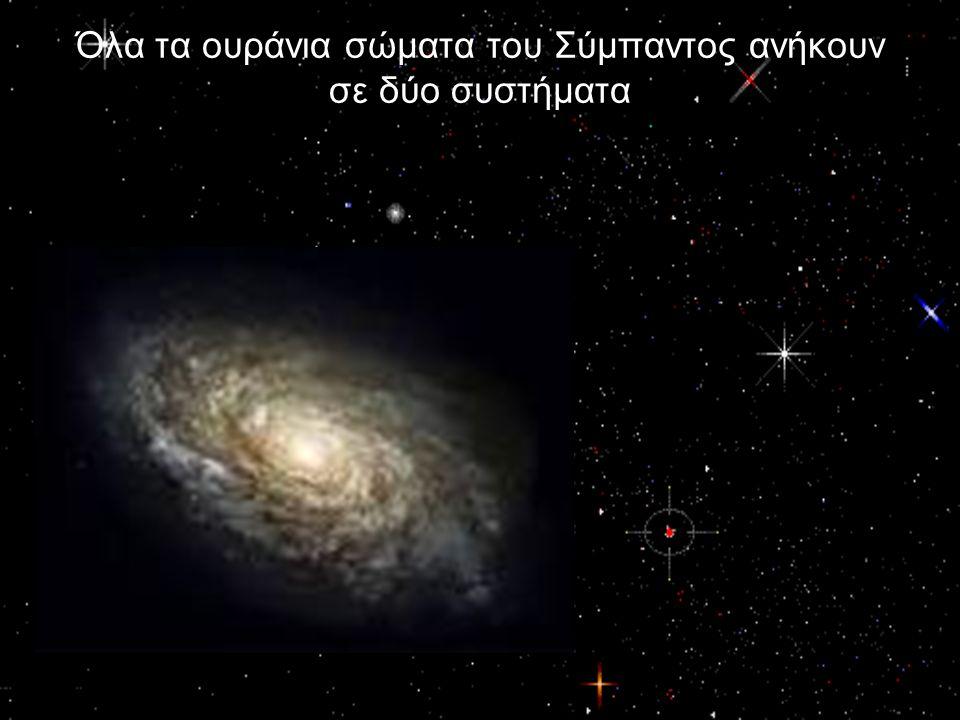 Το Ηλιακό σύστημα ή Κοπερνίκειο σύστημα* στο οποίο περιλαμβάνονται ο ΉλιοςΉλιος οι ΠλανήτεςΠλανήτες οι δορυφόροι τουςδορυφόροι οι ΚομήτεςΚομήτες οι διάττοντες αστέρεςδιάττοντες αστέρες οι αερόλιθοι καιαερόλιθοι οι βολίδεςβολίδες