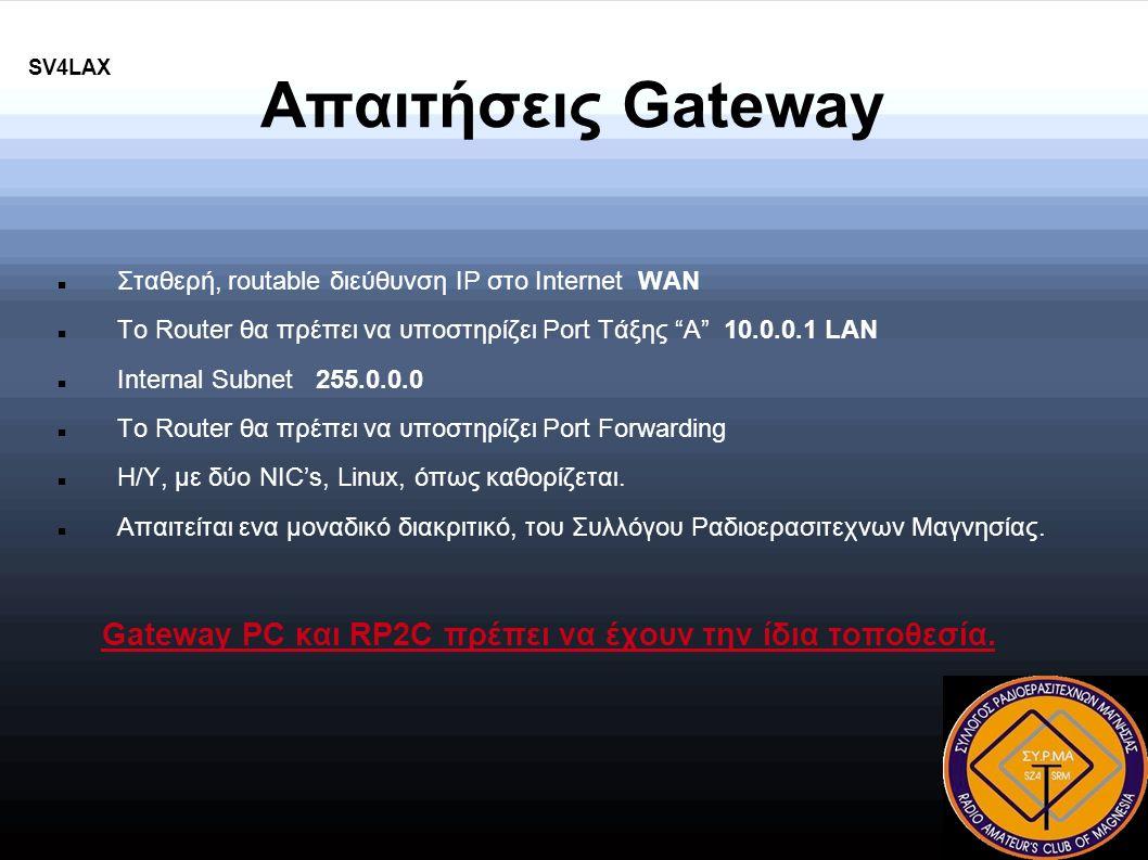 SV4LAX Απαιτήσεις Gateway Σταθερή, routable διεύθυνση IP στο Internet WAN Το Router θα πρέπει να υποστηρίζει Port Τάξης Α 10.0.0.1 LAN Internal Subnet 255.0.0.0 Το Router θα πρέπει να υποστηρίζει Port Forwarding Η/Υ, με δύο NIC's, Linux, όπως καθορίζεται.