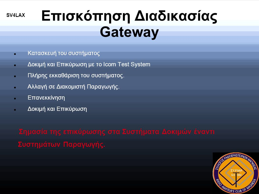 Επισκόπηση Διαδικασίας Gateway SV4LAX Κατασκευή του συστήματος Δοκιμή και Επικύρωση με το Icom Test System Πλήρης εκκαθάριση του συστήματος.