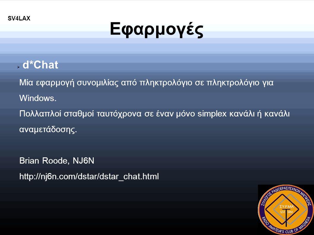 Εφαρμογές  d*Chat Μία εφαρμογή συνομιλίας από πληκτρολόγιο σε πληκτρολόγιο για Windows.