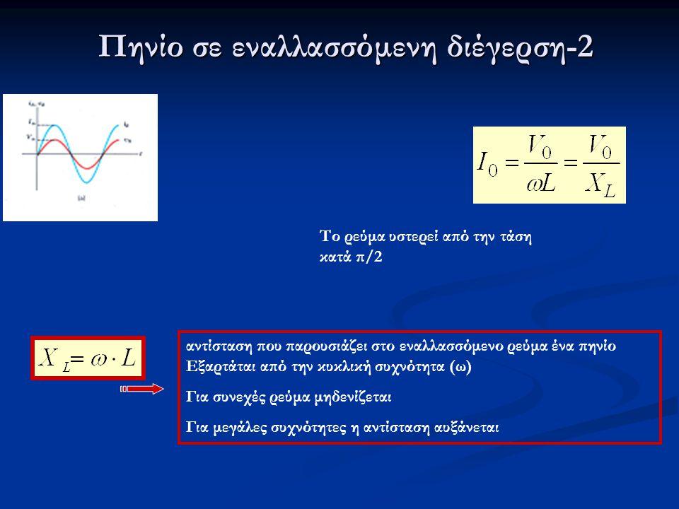 Πηνίο σε εναλλασσόμενη διέγερση-2 αντίσταση που παρουσιάζει στο εναλλασσόμενο ρεύμα ένα πηνίο Εξαρτάται από την κυκλική συχνότητα (ω) Για συνεχές ρεύμ
