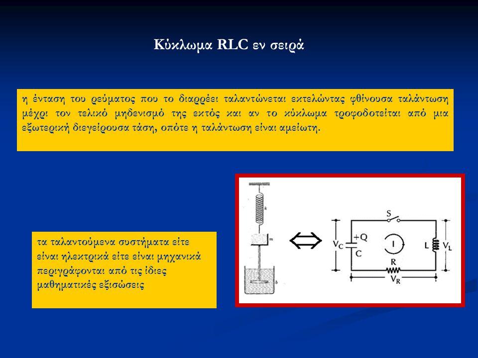 Κύκλωμα RLC εν σειρά η ένταση του ρεύματος που το διαρρέει ταλαντώνεται εκτελώντας φθίνουσα ταλάντωση μέχρι τον τελικό μηδενισμό της εκτός και αν το κ