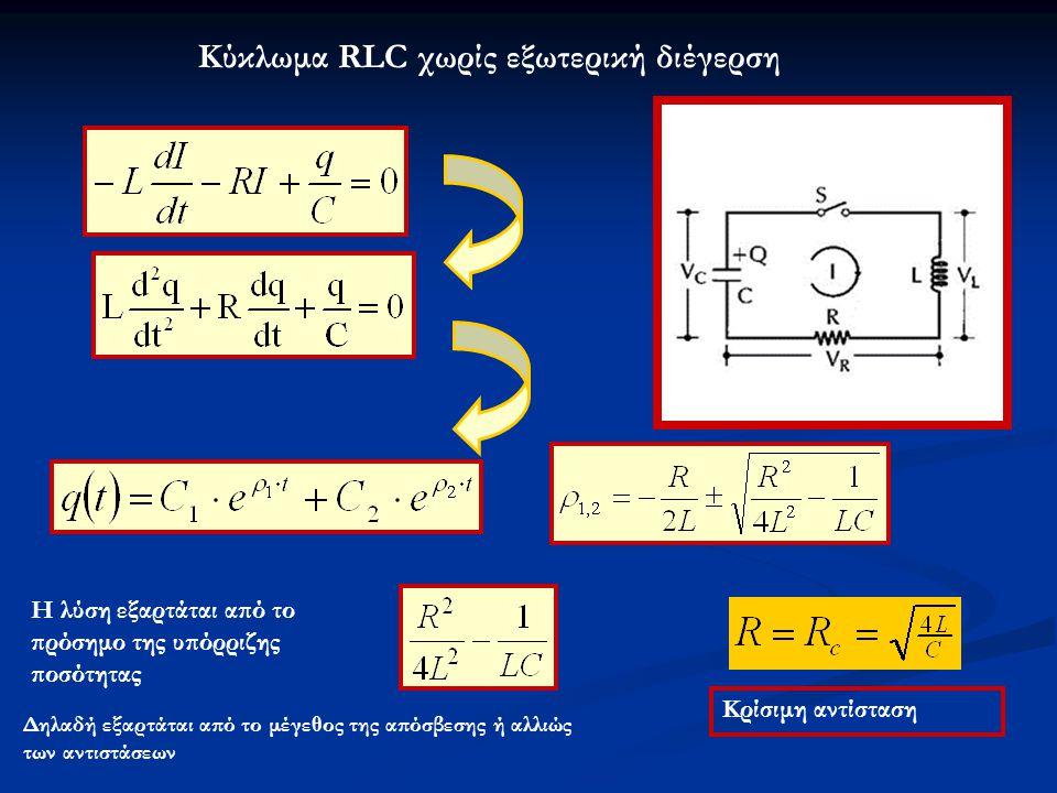Κρίσιμη αντίσταση Κύκλωμα RLC χωρίς εξωτερική διέγερση Η λύση εξαρτάται από το πρόσημο της υπόρριζης ποσότητας Δηλαδή εξαρτάται από το μέγεθος της από