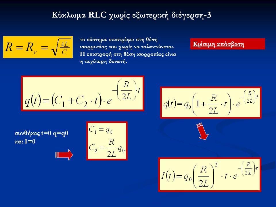 Κύκλωμα RLC χωρίς εξωτερική διέγερση-3 Κρίσιμη απόσβεση το σύστημα επιστρέφει στη θέση ισορροπίας του χωρίς να ταλαντώνεται. Η επιστροφή στη θέση ισορ