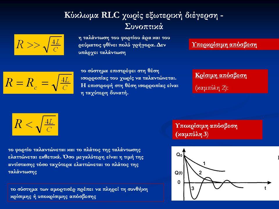 Κύκλωμα RLC χωρίς εξωτερική διέγερση - Συνοπτικά Υπερκρίσιμη απόσβεση η ταλάντωση του φορτίου άρα και του ρεύματος φθίνει πολύ γρήγορα. Δεν υπάρχει τα