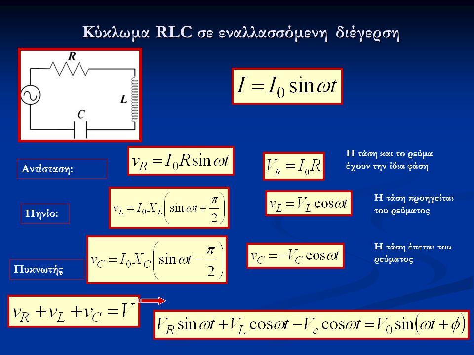 Κύκλωμα RLC σε εναλλασσόμενη διέγερση Αντίσταση: Πηνίο: Πυκνωτής Η τάση και το ρεύμα έχουν την ίδια φάση Η τάση προηγείται του ρεύματος Η τάση έπεται