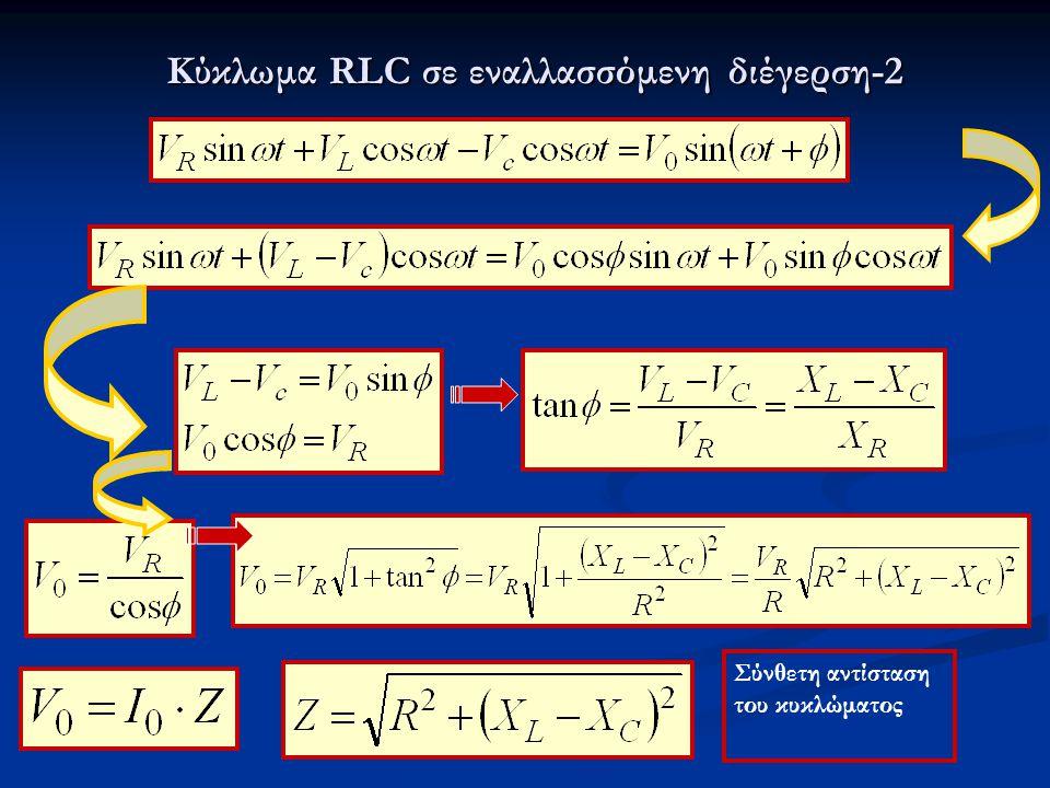 Σύνθετη αντίσταση του κυκλώματος Κύκλωμα RLC σε εναλλασσόμενη διέγερση-2