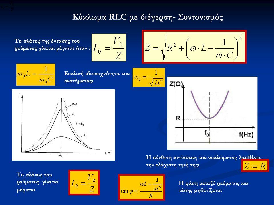 Κύκλωμα RLC με διέγερση- Συντονισμός Το πλάτος της έντασης του ρεύματος γίνεται μέγιστο όταν : Κυκλική ιδιοσυχνότητα του συστήματος: Το πλάτος του ρεύ
