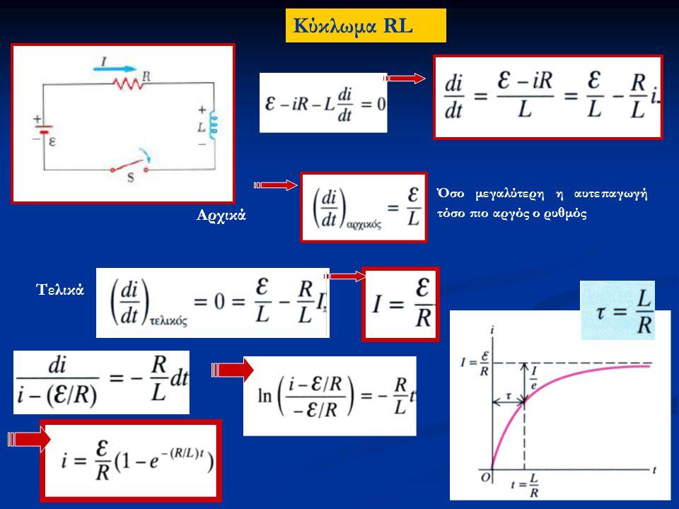 Ρυθμός μεταβολής μαγνητικής ενέργειας στο πηνίο: Η ενέργεια που αποθηκεύεται στο πηνίο: Η σχέση αυτή δείχνει ότι ένα μέρος της ισχύος (Ε i ) που παρέχεται από την πηγή καταναλώνεται στον αντιστάτη και ένα άλλο μέρος αποθηκεύεται στο πηνίο