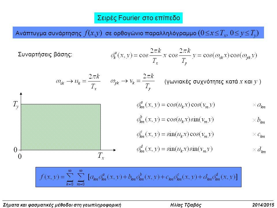 Σήματα και φασματικές μέθοδοι στη γεωπληροφορική Ηλίας Τζιαβός 2014/2015 Σειρές Fourier στο επίπεδο Ανάπτυγμα συνάρτησης f (x,y) σε ορθογώνιο παραλληλόγραμμο (0  x  T x, 0  y  T y ) Συναρτήσεις βάσης: (γωνιακές συχνότητες κατά x και y ) 0 TyTy TxTx 0