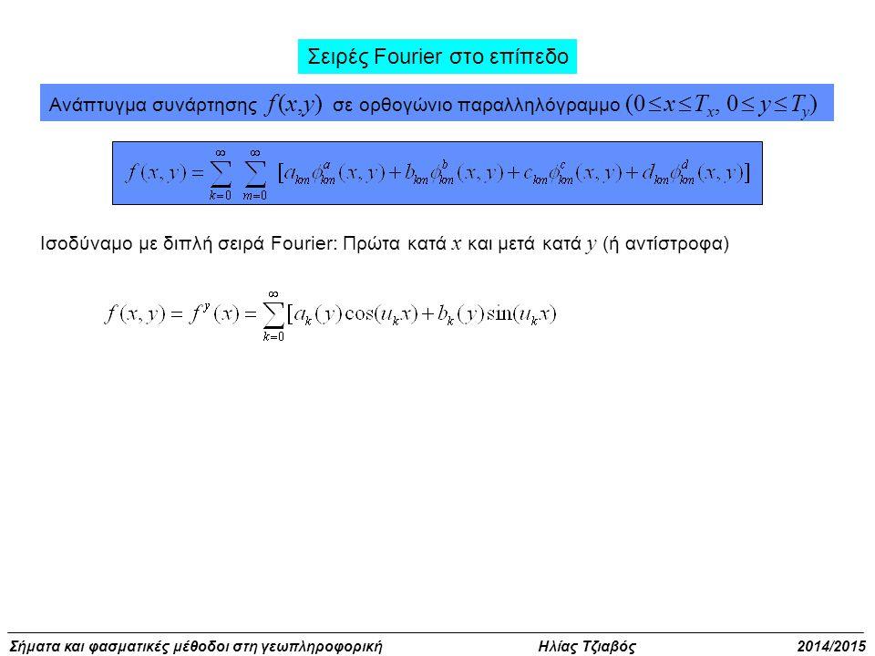 Σήματα και φασματικές μέθοδοι στη γεωπληροφορική Ηλίας Τζιαβός 2014/2015 Σειρές Fourier στο επίπεδο Ισοδύναμο με διπλή σειρά Fourier: Πρώτα κατά x και μετά κατά y (ή αντίστροφα) Ανάπτυγμα συνάρτησης f (x,y) σε ορθογώνιο παραλληλόγραμμο (0  x  T x, 0  y  T y )