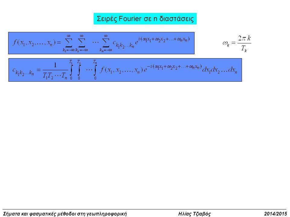 Σήματα και φασματικές μέθοδοι στη γεωπληροφορική Ηλίας Τζιαβός 2014/2015 Σειρές Fourier σε n διαστάσεις