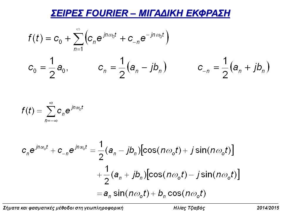 Σήματα και φασματικές μέθοδοι στη γεωπληροφορική Ηλίας Τζιαβός 2014/2015 Παράδειγμα υπολογισμού σειράς Fourier (5)