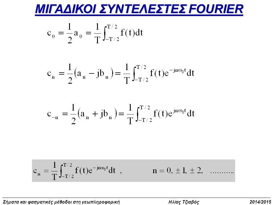 Σήματα και φασματικές μέθοδοι στη γεωπληροφορική Ηλίας Τζιαβός 2014/2015 Σειρές Fourier στον κύκλο (πεδίο εξ ορισμού περιοδικό) θ (γωνία)