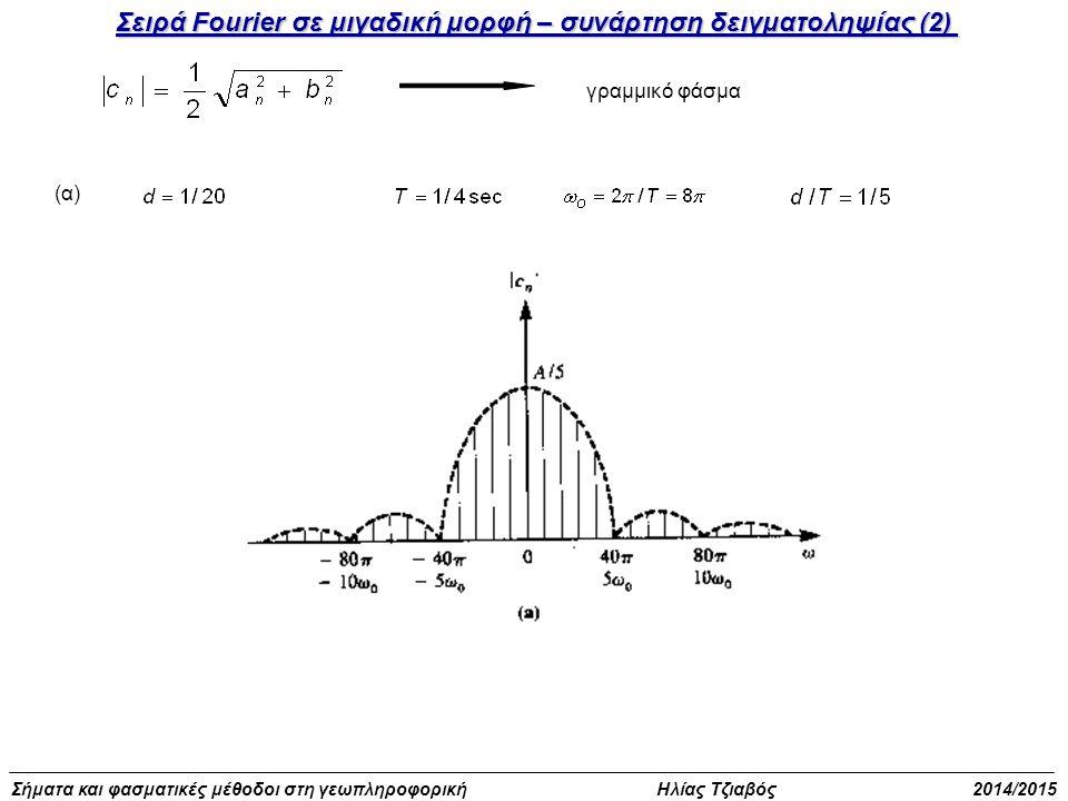 Σήματα και φασματικές μέθοδοι στη γεωπληροφορική Ηλίας Τζιαβός 2014/2015 Παράδειγμα υπολογισμού σειράς Fourier (3) Να αναπτυχθεί η συνάρτηση σε σειρά Fourier Λύση Άρτια συνάρτηση, χρησιμοποιούνται τύποι του μισού διαστήματος Ολοκλήρωση κατά μέρη Στο πρόβλημά μας μετά τις αντικαταστάσεις προκύπτει