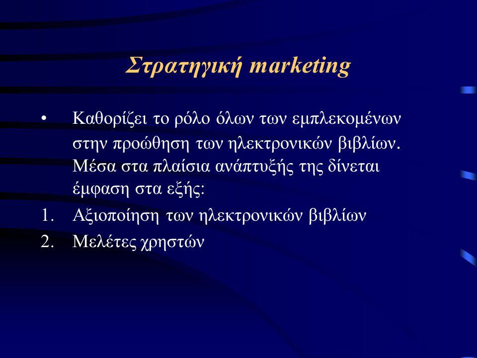 Στρατηγική marketing Καθορίζει το ρόλο όλων των εμπλεκομένων στην προώθηση των ηλεκτρονικών βιβλίων.