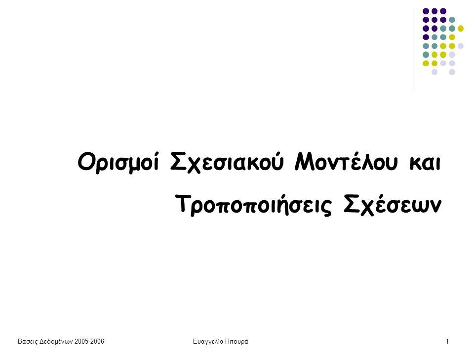 Βάσεις Δεδομένων 2005-2006Ευαγγελία Πιτουρά1 Ορισμοί Σχεσιακού Μοντέλου και Τροποποιήσεις Σχέσεων