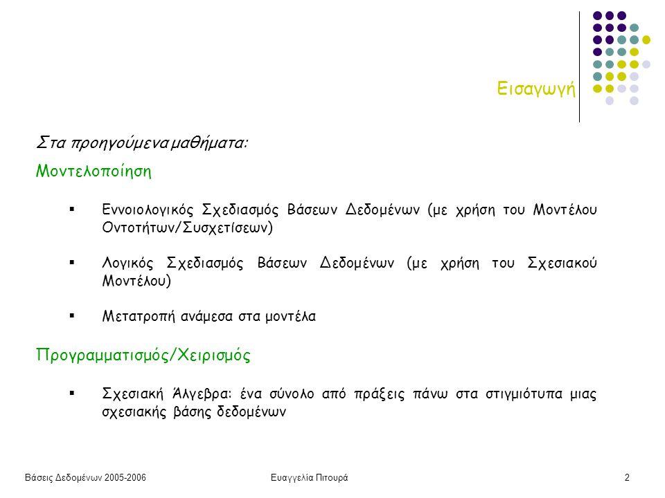 Βάσεις Δεδομένων 2005-2006Ευαγγελία Πιτουρά2 Εισαγωγή Στα προηγούμενα μαθήματα: Μοντελοποίηση  Εννοιολογικός Σχεδιασμός Βάσεων Δεδομένων (με χρήση του Μοντέλου Οντοτήτων/Συσχετίσεων)  Λογικός Σχεδιασμός Βάσεων Δεδομένων (με χρήση του Σχεσιακού Μοντέλου)  Μετατροπή ανάμεσα στα μοντέλα Προγραμματισμός/Χειρισμός  Σχεσιακή Άλγεβρα: ένα σύνολο από πράξεις πάνω στα στιγμιότυπα μιας σχεσιακής βάσης δεδομένων