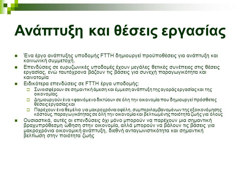 Ανάπτυξη και θέσεις εργασίας Ένα έργο ανάπτυξης υποδομής FTTH δημιουργεί προϋποθέσεις για ανάπτυξη και κοινωνική συμμετοχή.