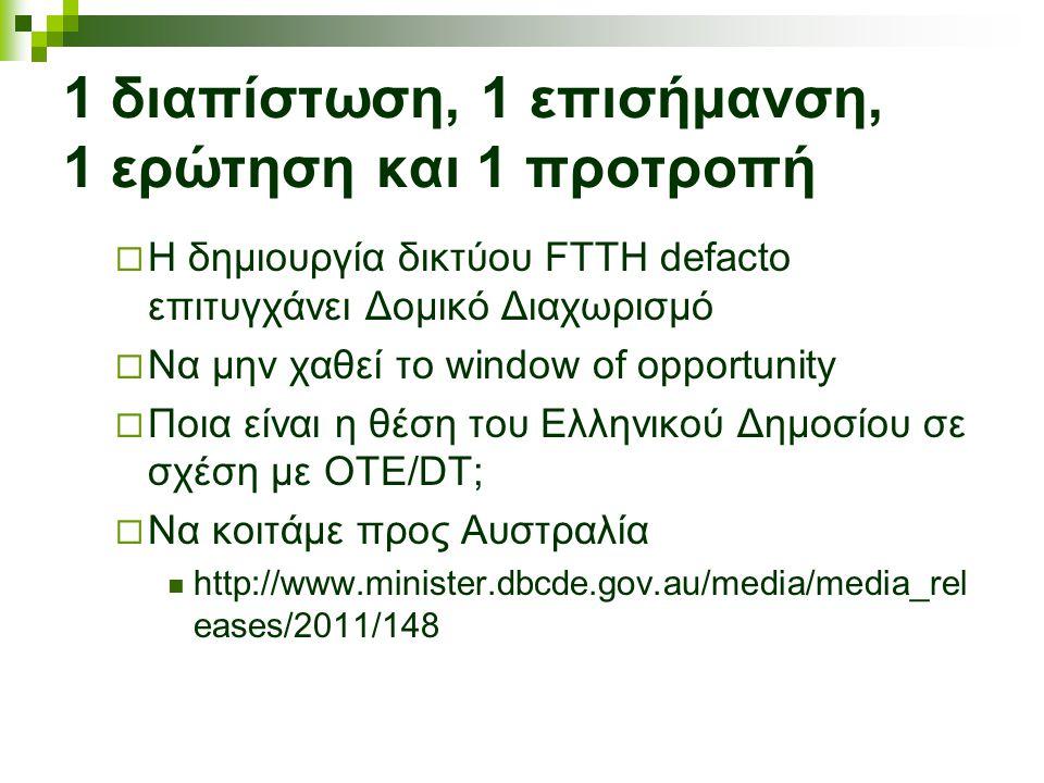 1 διαπίστωση, 1 επισήμανση, 1 ερώτηση και 1 προτροπή  Η δημιουργία δικτύου FTTH defacto επιτυγχάνει Δομικό Διαχωρισμό  Να μην χαθεί το window of opportunity  Ποια είναι η θέση του Ελληνικού Δημοσίου σε σχέση με ΟΤΕ/DT;  Να κοιτάμε προς Αυστραλία http://www.minister.dbcde.gov.au/media/media_rel eases/2011/148