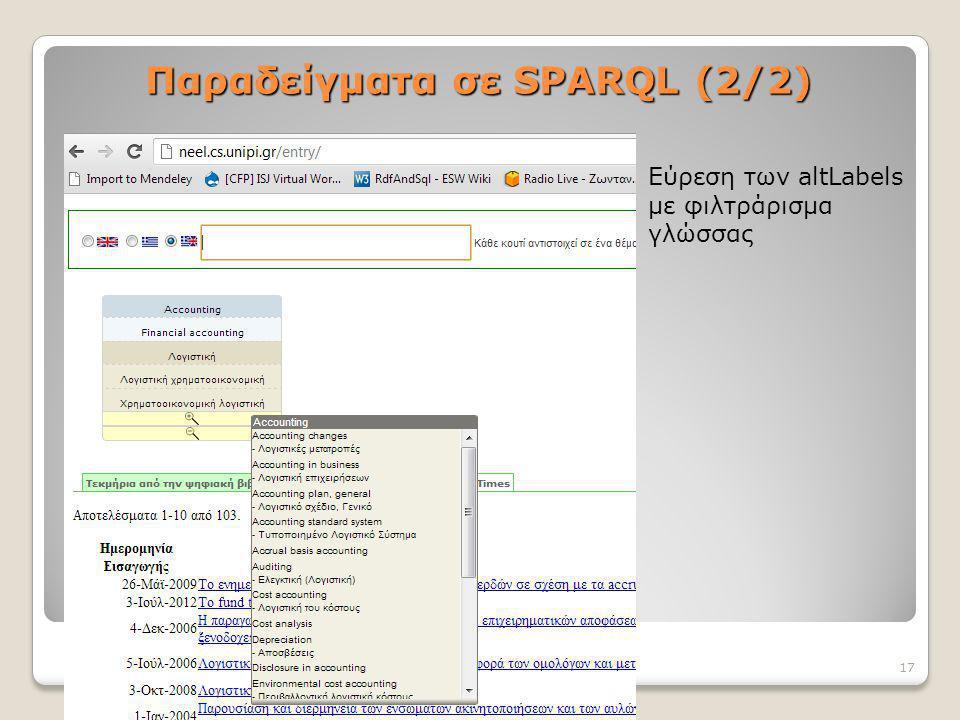 Παραδείγματα σε SPARQL (2/2) Εύρεση των altLabels με φιλτράρισμα γλώσσας 17