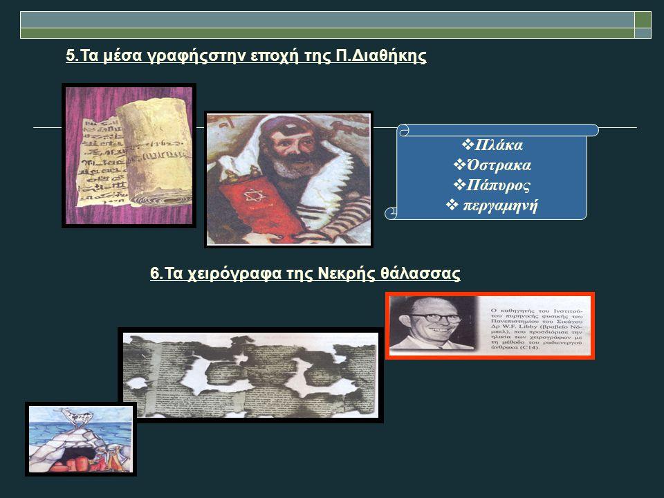 5.Τα μέσα γραφήςστην εποχή της Π.Διαθήκης  Πλάκα  Όστρακα  Πάπυρος  περγαμηνή 6.Τα χειρόγραφα της Νεκρής θάλασσας