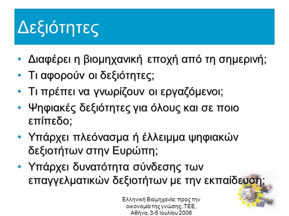 Ελληνική Βιομηχανία: προς την οικονομία της γνώσης, ΤΕΕ, Αθήνα, 3-5 Ιουλίου 2006 Δεξιότητες Διαφέρει η βιομηχανική εποχή από τη σημερινή;Διαφέρει η βι