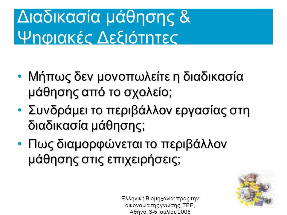 Ελληνική Βιομηχανία: προς την οικονομία της γνώσης, ΤΕΕ, Αθήνα, 3-5 Ιουλίου 2006 Διαδικασία μάθησης & Ψηφιακές Δεξιότητες Μήπως δεν μονοπωλείτε η διαδ