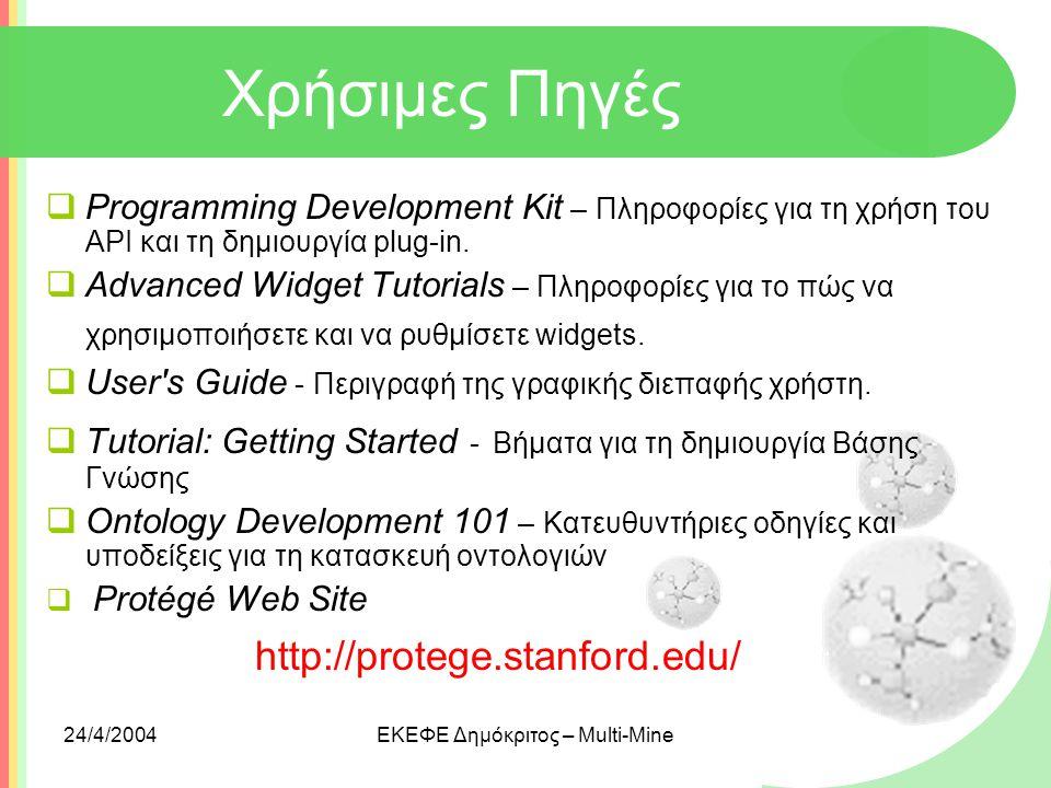 24/4/2004ΕΚΕΦΕ Δημόκριτος – Multi-Mine Χρήσιμες Πηγές  Programming Development Kit – Πληροφορίες για τη χρήση του API και τη δημιουργία plug-in.  Ad