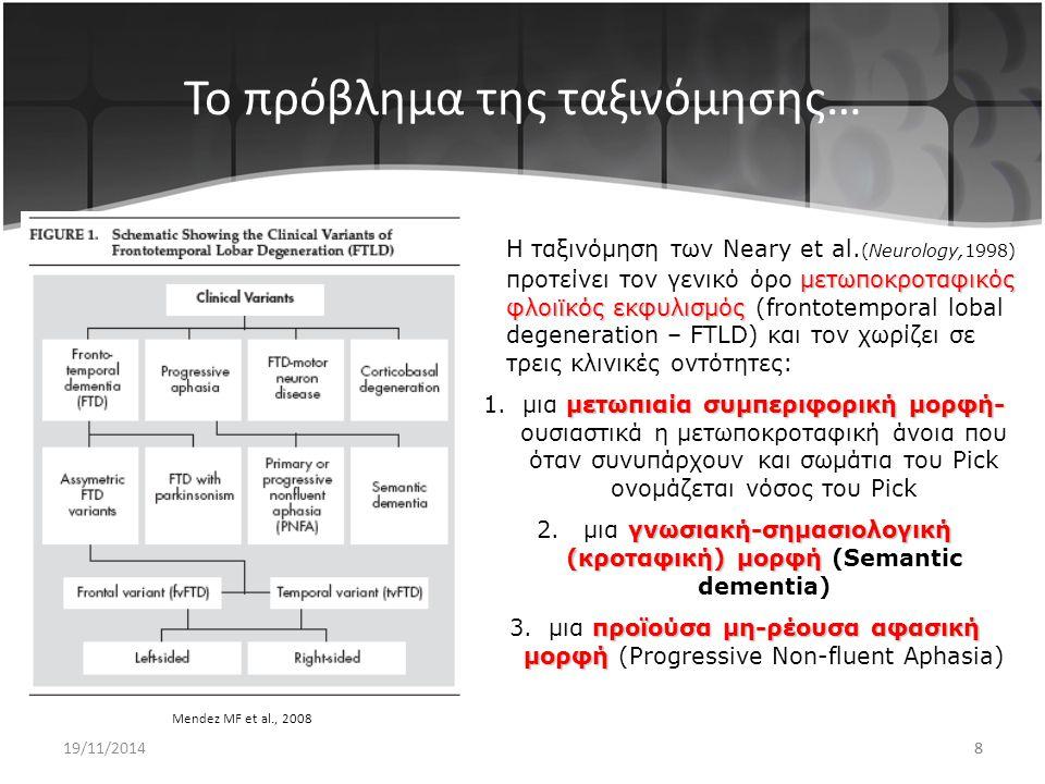18 Γνωσιακή-σημασιολογική άνοια Semantic Dementia Η ικανότητα για αριθμητικές πράξεις διατη- ρείται όπως και η ικανότητα να επαναλαμ- βάνουν λέξεις που μόλις άκουσαν ή να διαβάσουν και να αντιγράψουν ένα κείμενο που δεν παρεκκλίνει όμως από την ορθογραφία.
