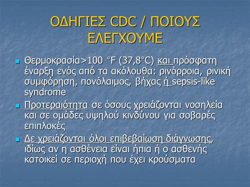 ΟΔΗΓΙΕΣ CDC / ΠΟΙΟΥΣ ΕΛΕΓΧΟΥΜΕ Θερμοκρασία>100 °F (37,8°C) και πρόσφατη έναρξη ενός από τα ακόλουθα: ρινόρροια, ρινική συμφόρηση, πονόλαιμος, βήχας ή