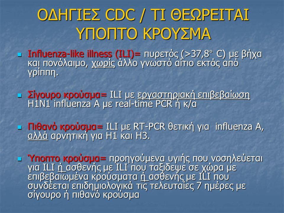 ΟΜΑΔΕΣ ΥΨΗΛΟΥ ΚΙΝΔΥΝΟΥ ΓΙΑ ΕΠΙΠΛΟΚΕΣ (CDC) Παιδιά< 5 ετών (ιδίως<2 ετών) Παιδιά< 5 ετών (ιδίως<2 ετών) Ενήλικες >65 ετών Ενήλικες >65 ετών Άτομα <19 ετών που λαμβάνουν μακροχρονίως ασπιρίνη (κίνδυνος σ.Reye) Άτομα <19 ετών που λαμβάνουν μακροχρονίως ασπιρίνη (κίνδυνος σ.Reye) Έγκυες γυναίκες Έγκυες γυναίκες Χρόνια νοσήματα όπως: Xρόνια νοσήματα αναπνευστικού, άσθμα (ιδίως αν τον προηγούμενο χρόνο έλαβαν συστηματικά κορτικοστεροειδή), καρδιαγγειακά νοσήματα, ενεργό καρκίνο, ΧΝΑ, ΧΗΑ, ΣΔ, αιμοσφαιρινοπάθειες, ανοσοκαταστολή/HIV (ιδίως αν CD4<200), νοσήματα που δυσχεραίνουν την αντιμετώπιση των εκκρίσεων αναπνευστικού (πχ νευρομυικά νοσήματα), παιδιά με νοσήματα μεταβολισμού Χρόνια νοσήματα όπως: Xρόνια νοσήματα αναπνευστικού, άσθμα (ιδίως αν τον προηγούμενο χρόνο έλαβαν συστηματικά κορτικοστεροειδή), καρδιαγγειακά νοσήματα, ενεργό καρκίνο, ΧΝΑ, ΧΗΑ, ΣΔ, αιμοσφαιρινοπάθειες, ανοσοκαταστολή/HIV (ιδίως αν CD4<200), νοσήματα που δυσχεραίνουν την αντιμετώπιση των εκκρίσεων αναπνευστικού (πχ νευρομυικά νοσήματα), παιδιά με νοσήματα μεταβολισμού Παιδιά με εμέτους και διάρροιες Παιδιά με εμέτους και διάρροιες Ιδρύματα Ιδρύματα Η παχυσαρκία ΔΕΝ υπάγεται στους παράγοντες κινδύνου για επιπλοκές,αλλά έχουν καταγραφεί σοβαρά περιστατικά σε παχύσαρκους και προηγούμενα υγιείς.