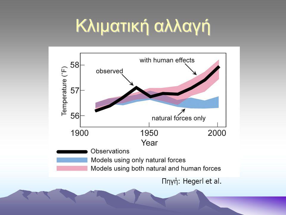 Κλιματική αλλαγή Η μέση ετήσια θερμοκρασία της γης αναμένεται να αυξηθεί από 1,1°C έως 6,4°C μέχρι το 2100, ανάλογα με την ενδεχόμενη μείωση ή αύξηση της εκπομπής των αερίων θερμοκηπίου .