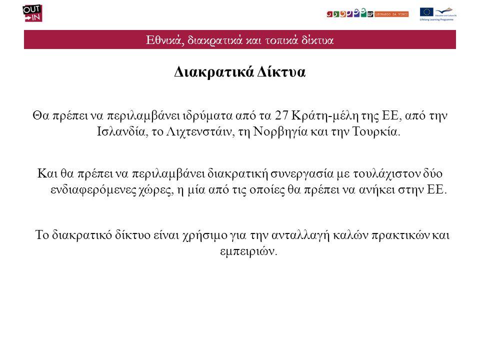Εθνικά, διακρατικά και τοπικά δίκτυα Διακρατικά Δίκτυα Θα πρέπει να περιλαμβάνει ιδρύματα από τα 27 Κράτη-μέλη της ΕΕ, από την Ισλανδία, το Λιχτενστάι