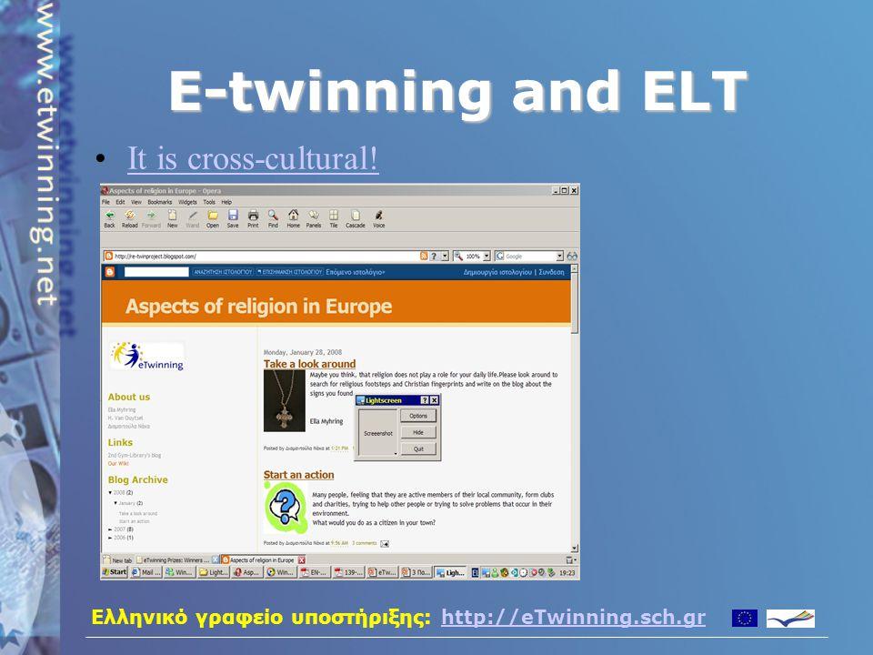 Ελληνικό γραφείο υποστήριξης: http://eTwinning.sch.grhttp://eTwinning.sch.gr E-twinning and ELT It is challenging