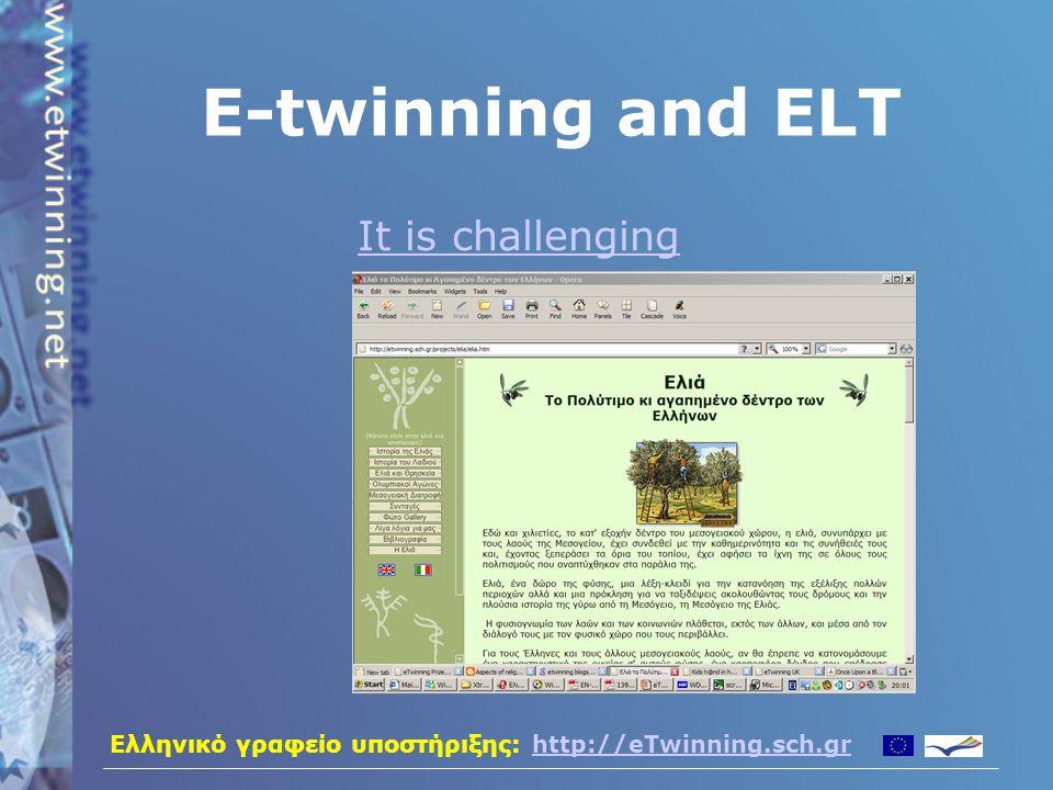 Ελληνικό γραφείο υποστήριξης: http://eTwinning.sch.grhttp://eTwinning.sch.gr E-twinning and ELT It is motivating