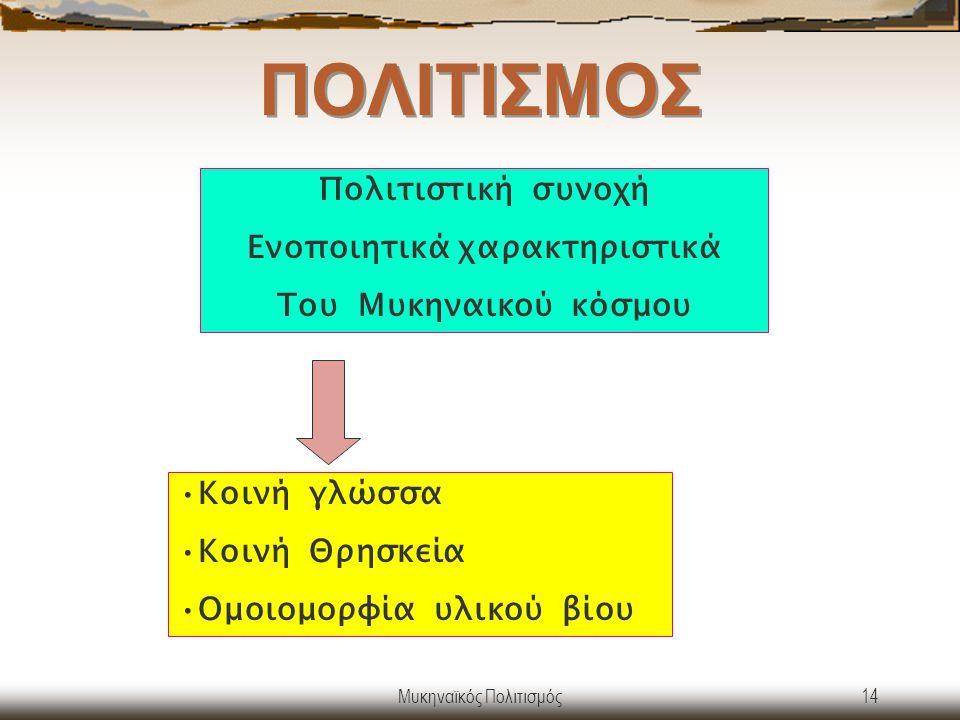 Μυκηναϊκός Πολιτισμός14 ΠΟΛΙΤΙΣΜΟΣ Κοινή γλώσσα Κοινή Θρησκεία Ομοιομορφία υλικού βίου Πολιτιστική συνοχή Ενοποιητικά χαρακτηριστικά Του Μυκηναικού κό