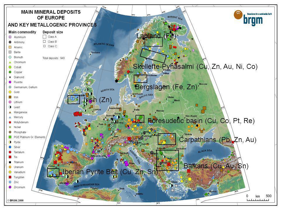 mercredi 19 novembre 2014Service Ressources Minérales > 11 Lapland (Fe) Skellefte-Pyhäsalmi (Cu, Zn, Au, Ni, Co) Bergslagen (Fe, Zn) Foresudetic basin