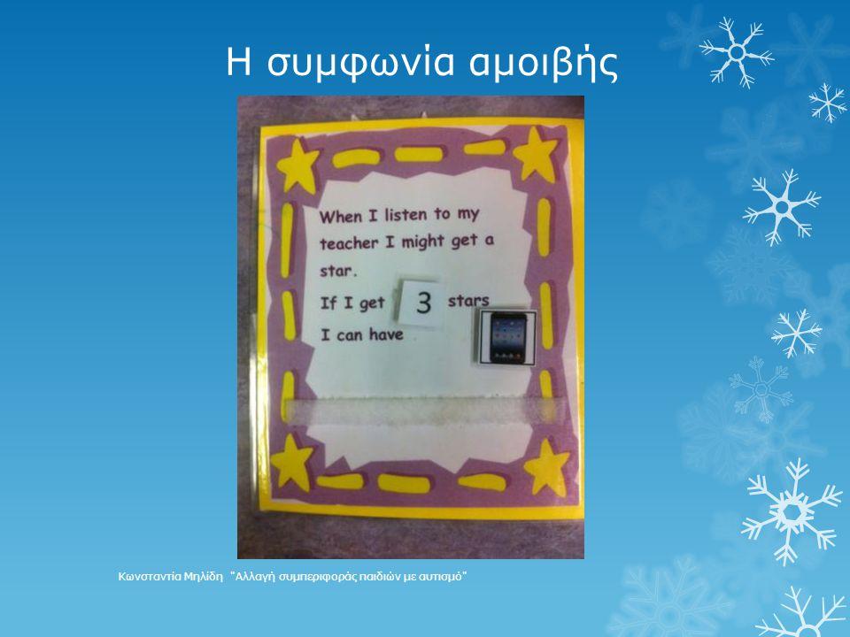 Η συμφωνία αμοιβής Κωνσταντία Μηλίδη Αλλαγή συμπεριφοράς παιδιών με αυτισμό