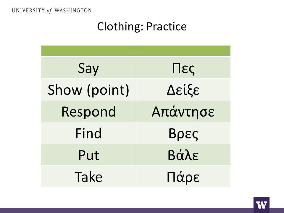 Clothing: Practice SayΠες Show (point)Δείξε RespondΑπάντησε FindΒρες PutΒάλε TakeΠάρε