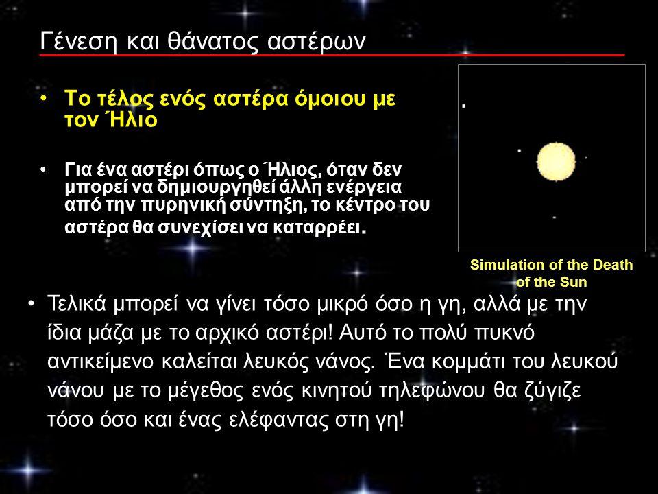 Γένεση και θάνατος αστέρων Το τέλος ενός αστέρα όμοιου με τον Ήλιο Για ένα αστέρι όπως ο Ήλιος, όταν δεν μπορεί να δημιουργηθεί άλλη ενέργεια από την