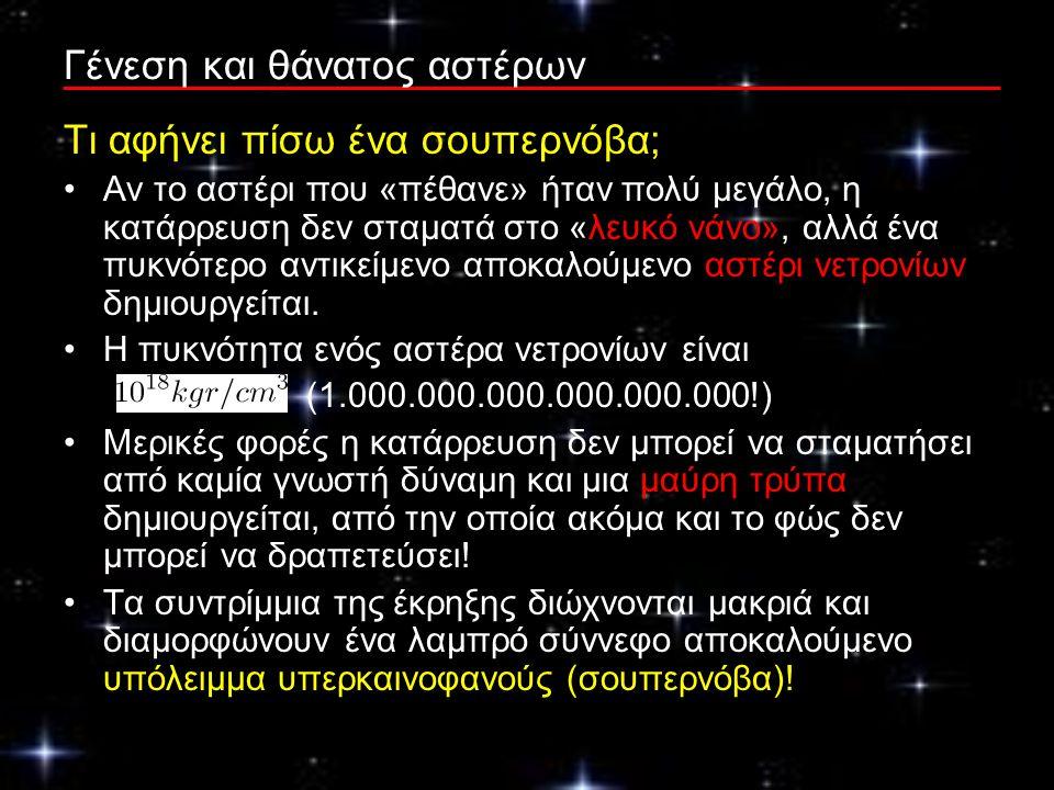 Γένεση και θάνατος αστέρων Τι αφήνει πίσω ένα σουπερνόβα; Αν το αστέρι που «πέθανε» ήταν πολύ μεγάλο, η κατάρρευση δεν σταματά στο «λευκό νάνο», αλλά ένα πυκνότερο αντικείμενο αποκαλούμενο αστέρι νετρονίων δημιουργείται.