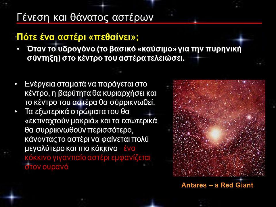 Γένεση και θάνατος αστέρων Πότε ένα αστέρι «πεθαίνει»; Όταν το υδρογόνο (το βασικό «καύσιμο» για την πυρηνική σύντηξη) στο κέντρο του αστέρα τελειώσει.