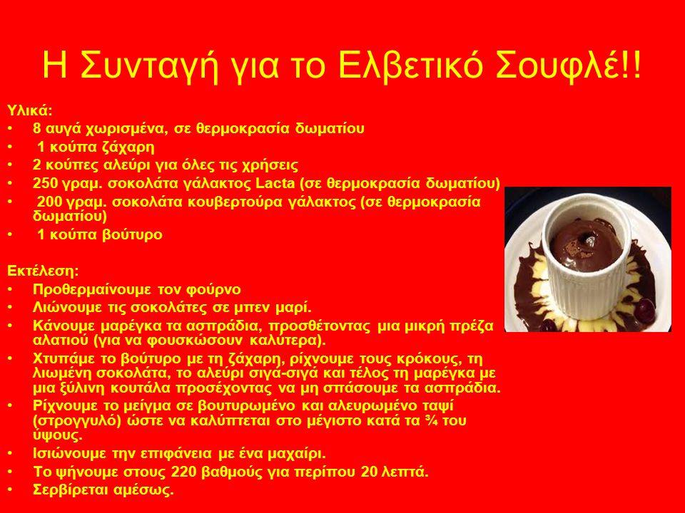 Η Συνταγή για το Ελβετικό Σουφλέ!! Υλικά: 8 αυγά χωρισμένα, σε θερμοκρασία δωματίου 1 κούπα ζάχαρη 2 κούπες αλεύρι για όλες τις χρήσεις 250 γραμ. σοκο