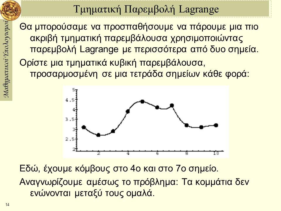 Μαθηματικοί Υπολογισμοί 14 Τμηματική Παρεμβολή Lagrange Θα μπορούσαμε να προσπαθήσουμε να πάρουμε μια πιο ακριβή τμηματική παρεμβάλουσα χρησιμοποιώντας παρεμβολή Lagrange με περισσότερα από δυο σημεία.