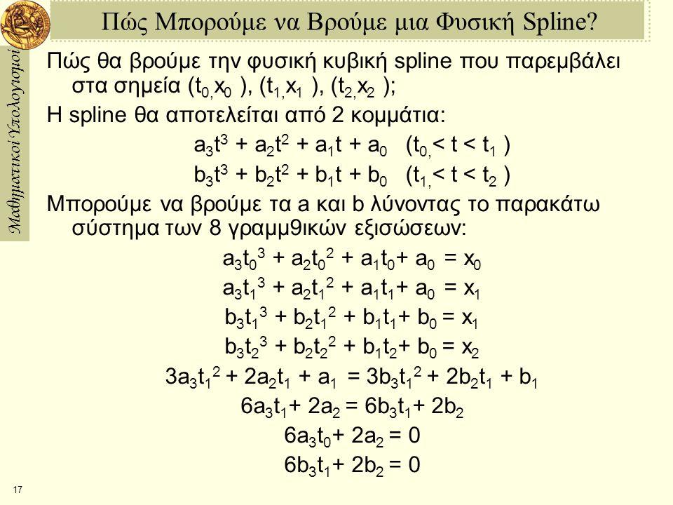 Μαθηματικοί Υπολογισμοί 17 Πώς Μπορούμε να Βρούμε μια Φυσική Spline? Πώς θα βρούμε την φυσική κυβική spline που παρεμβάλει στα σημεία (t 0, x 0 ), (t